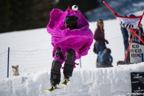 Not the easiest outfit to ski in